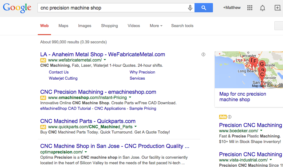 machine shop search query