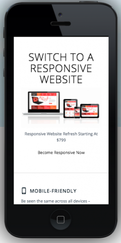 responsive website example | mobile view